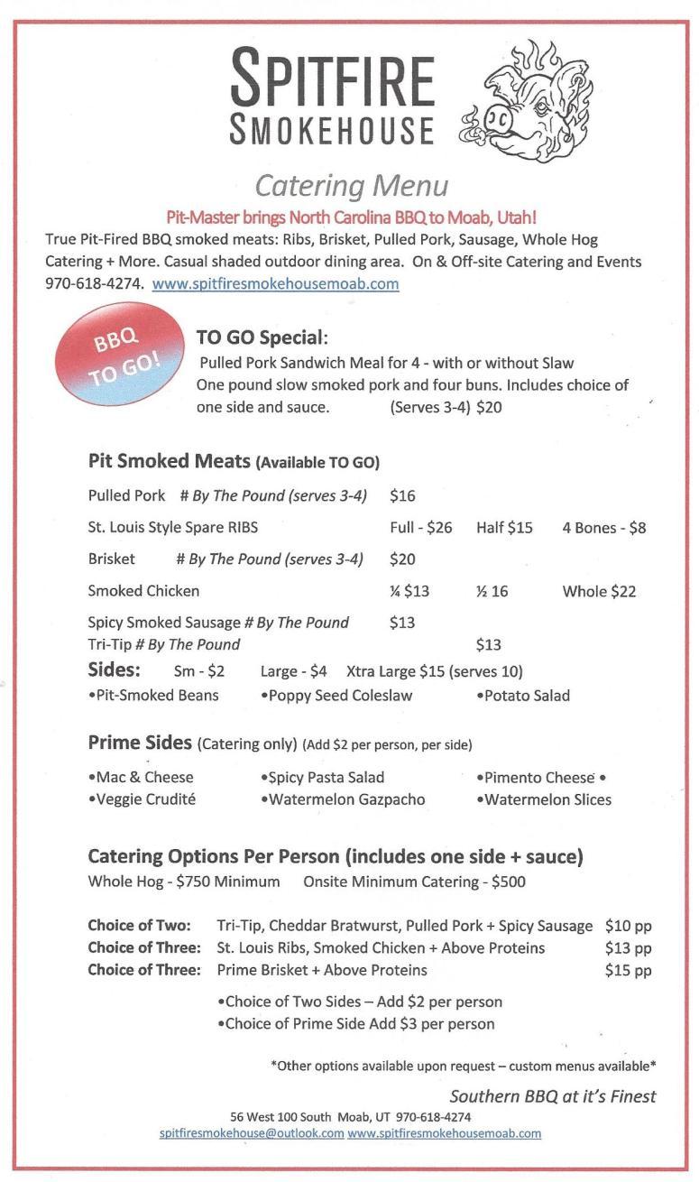 Catering menu 082017